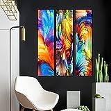 Pintura abstracta de la lona de las nubes coloridas modernas de la pared de las imágenes de la lona de la sala de estar Decoración del hogar 3 unids 40x120cm/15.7'x47.2' sin marco