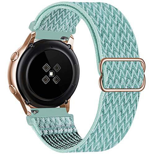 GBPOOT 20mm Correa Compatible con Samsung Galaxy Watch Active 2(40mm/44mm)/Watch 3 41mm/Watch 42mm/Gear S2,Reloj Ajustable de Repuesto Deporte Strap,Pulsera Nylon Banda,Marine Green,20mm