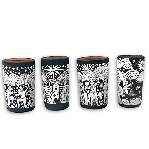 Tequila Mezcal Shot Glasses (Hand Painted) Set of 4 Black