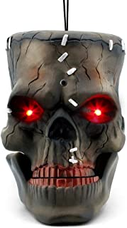 LUKAT Halloween Hanging Decorations, Halloween Skull Head with Glowing Eyes & Creepy Sounds & Biting Mouth Portable for Halloween Indoor/Outdoor Carrying, Hanging and Decorations (Skull Head)