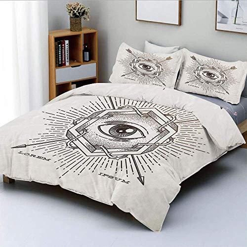 Juego de funda nórdica, tercer ojo en hexágono geométrico con efectos grunge y flechas cruzadas con estampado étnico Juego de cama decorativo de 3 piezas con 2 fundas de almohada, beige, el mejor rega