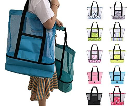 Besthuer Bolsa de picnic para mujer de malla para refrigerador, bolsa de playa de picnic para exteriores, bolsa de hielo de doble uso, equipo de picnic familiar, punto verde