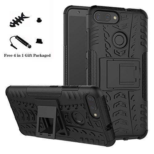 LiuShan ASUS Zenfone Max Plus M1 ZB570TL Hülle, Dual Layer Hybrid Handyhülle Drop Resistance Handys Schutz Hülle mit Ständer für ASUS Zenfone Max Plus (M1) X018DC(ZB570TL) Smartphone,Schwarz