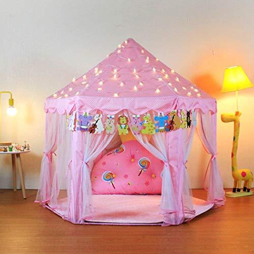 Casa de Campaña para Niñas, Castillo de Princesas con Luces de Estrellas, con Estandarte de Animales y Bolsa de Transporte, Tiendas de Campaña Jardín Plegable Casa Campaña Niñas Playhouse Infantil para Interior Exterior Niños Niñas 53 '' x 55 '' (DxH) Rosa