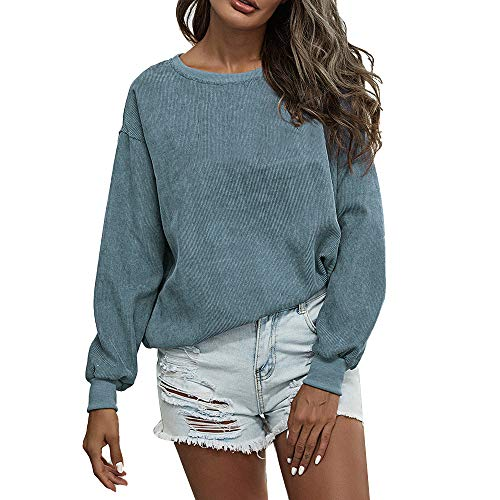 Women's Sweatshirts Casual Loose Tops Long Sleeve Solid Color Pullover Round Neck Corduroy Shirts Blue Small