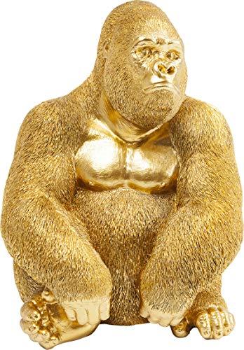 Kare Design Deko Figur Gorilla Side Medium Gold, kleine Dekofigur in Form eines Gorillas, ausgefallene Wohnzimmer Dekoration, Dekofigur Gorilla Gold, Dekoobjekt Affe (H/B/T)38,5x30x28cm