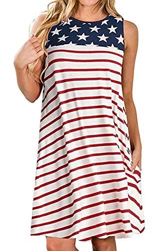 elescat America Flag Dresses for Women Summer Beach Sleeveless Sundress Pockets Swing Casual Loose