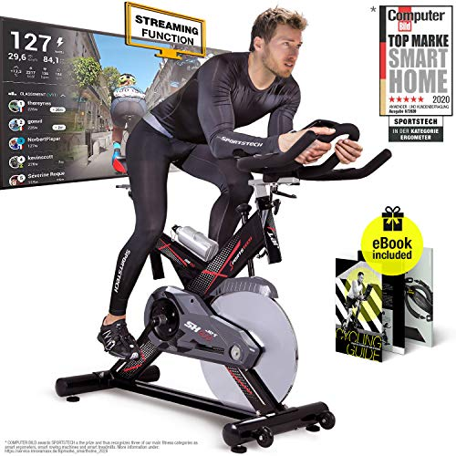 Sportstech professional Indoor Cycling SX400 with smartphone app control, 22KG flywheel, arm support, pulse belt compatible - Speedbike in studio quality - with Kinomap & eBook incl.