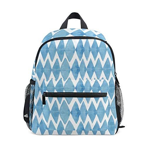 MONTOJ Bleu Rhombus Motif Sac d'école pour garçons Pliable d'école Sac à Dos