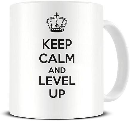 Preisvergleich für Funky NE Ltd Keramik-Kaffeetasse mit Aufschrift Keep Calm and Level Up