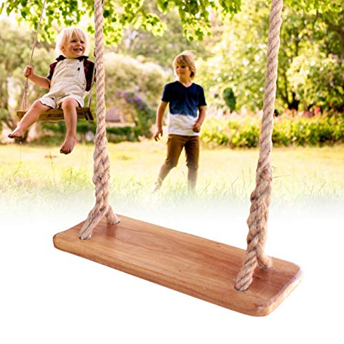 Asiento de columpio de bebé al aire libre, madera de abedul durable cuerda de cáñamo de madera anticorrosión tablón columpio niños niños niños que cuelga asiento