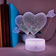 Gifts for Boyfriends an Arrow Heart Piercing 7 Colors Led Lamp Valentine I Love You Colorful 3D Nightlight Bluetooth Speaker