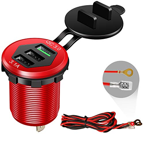 Quick Charge 3.0 Car Charger, 12V/24V 35W QC3.0/ 2.0 USB Charger Socket, 3 USB Charger Socket Power Outlet Fast Charge with Wire Fuse DIY Kit Car Boat Marine ATV Bus Truck Golf Cart and More(Red)