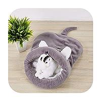猫寝袋暖かいサンゴフリース犬猫ベッド素敵な猫犬居心地の良いベッド超暖かいクッションマット旅行猫ベッドマットカバー-Gray-L 65 x 55 cm