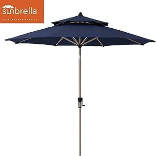 Crestlive Products Sunbrella 9FT Market Umbrella Patio Outdoor Table Umbrella Double Top   Aluminum Frame in Classic Wood Pattern Finish   Crank System and Push-Button Tilt (Spectrum Denim)