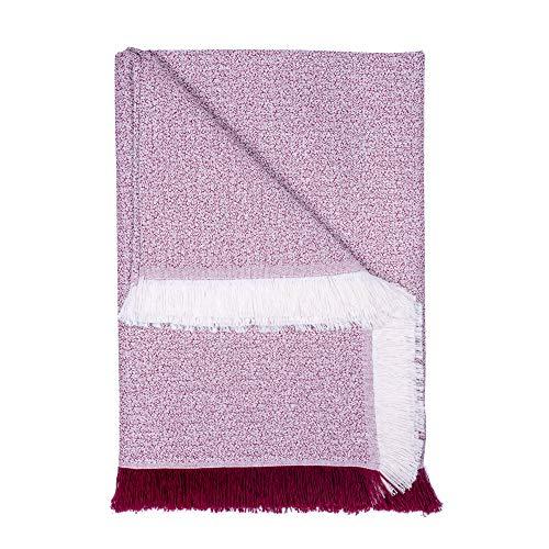 Basic Home Plaid/Foulard Multiusos - Cubre Cama - Sofa - Manta algodón Suave 230x270 cm Burdeos