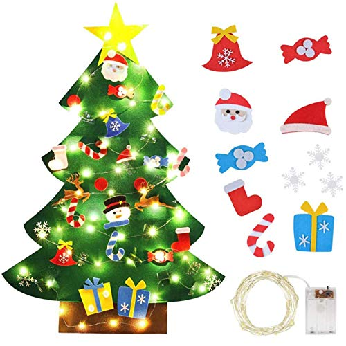 tanbea-UK Árbol de Navidad de fieltro con 30 adornos para árbol de Navidad con 26 luces LED, regalos para bricolaje para árbol de Navidad divertido (26 piezas)