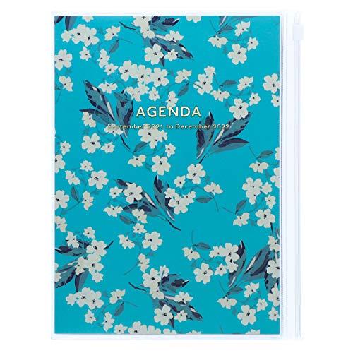 MARK'S 2021/2022 Taschenkalender A5 vertikal, Flower Pattern // Turqoise