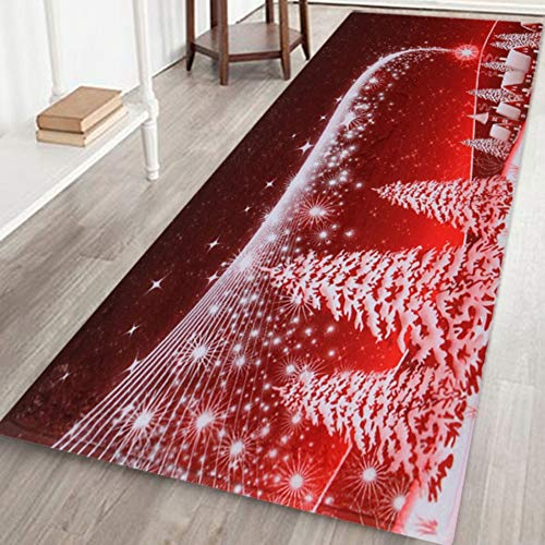 Sunshay Weihnachten Teppich Rutschfester Bodenmattenteppich für die Dekoration des Wohn- und Esszimmers