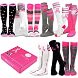 TeeHee Special (Holiday) Women Knee High 9-Pairs Socks with Gift Box (Pink Ribbon)