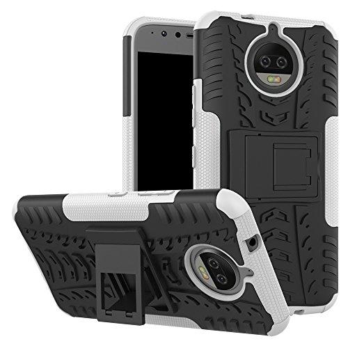 Capa para Moto G5S Plus, UZER à prova de choque, híbrida, camada dupla, de borracha robusta, híbrida, dura e macia, proteção contra impactos com suporte para Moto G5S Plus 2017
