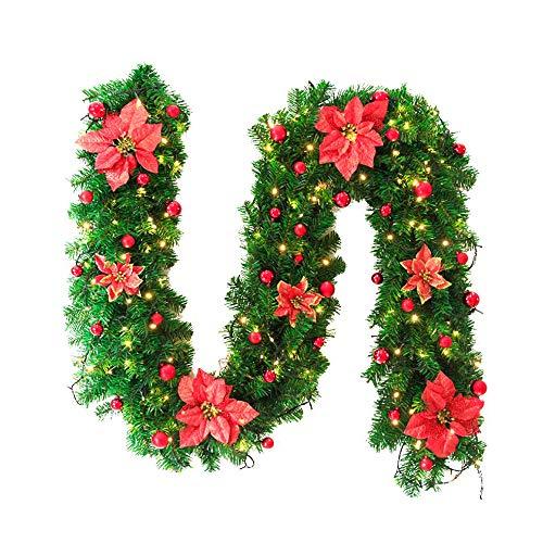 Eagles 8.86 ft/2,7 m kerstmis versierde slinger met koude witte LED-lampen, open haard trap versierde slingers, DIY haard trappen-decor Kleur-1