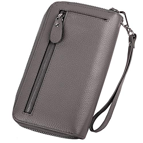 YALUXE Women's RFID Blocking Security Double Zipper Large Smartphone Wristlet Leather Wallet Grey