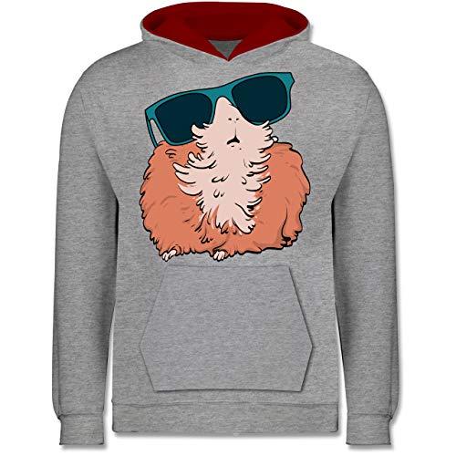 Shirtracer Tiermotive Kind - Meerschweinchen mit Sonnenbrille - 128 (7/8 Jahre) - Grau meliert/Rot - Statement - JH003K - Kinder Kontrast Hoodie