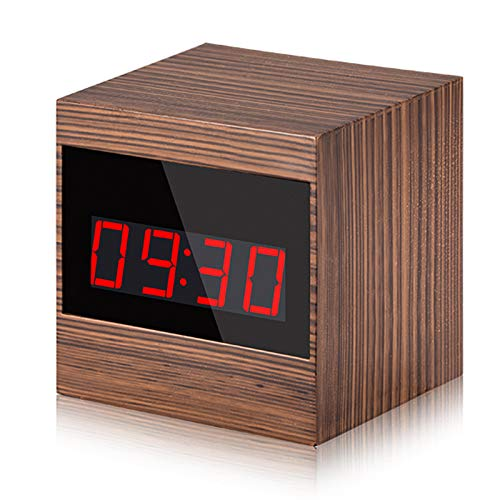 AAERP Cámara Oculta Reloj Despertador De Madera Reloj de Pulsera, Cubo Cámara Espía Oculta WiFi 1080P HD Mini Videocámara Inalámbrico con Visión Nocturna Detección de Movimiento