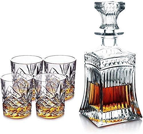 CYHT Whisky Decanter Set de Cristal Conjunto de Gafas Whisky Botella de Whisky con 4 Gafas Whisky con Gorra hermética, withwoderensupport