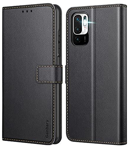 Ganbary Handyhülle für Xiaomi Redmi Note 10 5G /Poco M3 Pro 5G Hülle, Leder Tasche Flipcase [Kartenschlitzen] [Magnetverschluss] [Standfunktion] kompatibel mit Redmi Note 10 5G Schutzhülle, Schwarz