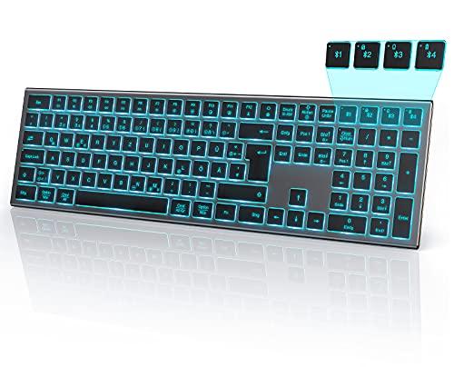 seenda Beleuchtete Bluetooth Tastatur mit 7 Farbigen Beleuchtung, Multi-Device Wiederaufladbare Ultraslim QWERTZ Funktastatur mit 4 Bluetooth Kanälen für Mac/iPad/iPhone/Android/Windows, Space Grau