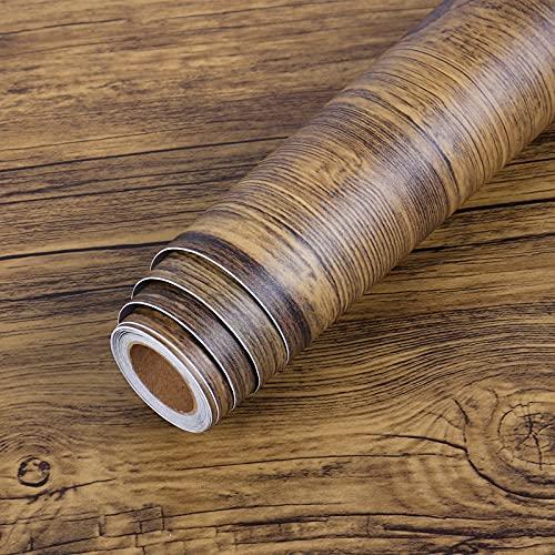 LaCheery 61 x 410 CM Papel pintado grueso de madera reciclada, color marrón, papel pintado de pared para armarios, cajones, Resistente al agua para Renovación Película de Muebles Puertade Mesa de baño
