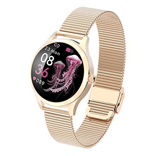 JXFF KW20 Smart Watch Women a Prueba de Agua Tasa del corazón Pedómetro Presión Arterial Deportes Smart Pulsera Smartwatch para iOS Android,A