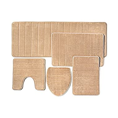 Bathroom Rug Mat, 5-Piece Set Memory Foam, Extra Soft Non-Slip Back (Beige)
