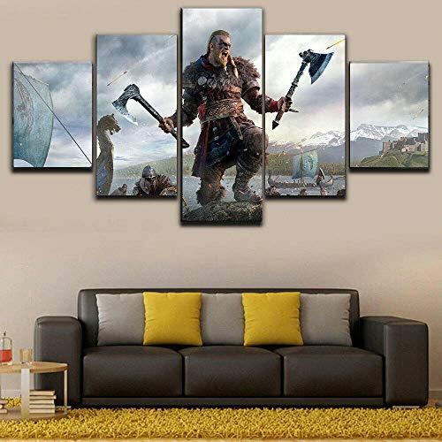 QZWXEC Assassins Creed Valhalla Ivar 5 delar tryck kanvas väggkonst modern HD modul affisch målningar ram, stor canvas väggkonst för vardagsrum kontor dekoration (H-80 cm x M/B-150 cm