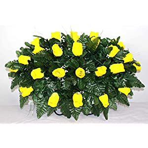 XL Classic Yellow Roses Artificial Silk Flower Cemetery Tombstone Grave Saddle