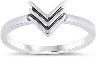 925 Sterling Silver Triple Chevron Design Ring