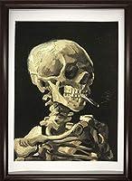 フィンセント・ファン・ゴッホ 火の付いたタバコをくわえた骸骨 A4 ポスター 輸送用 額付き ホビー おもちゃ 名画 絵画 グッズ コレクション インテリア 雑貨 ドクロ 髑髏