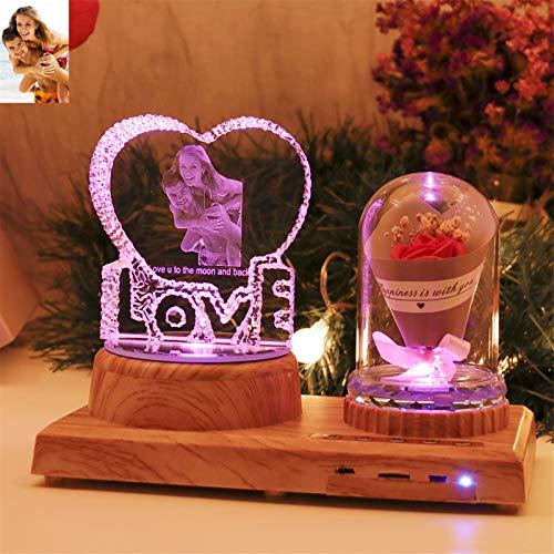 Amor personalizado Luz de noche Lámpara de cristal 3D Imagen de foto personalizada Luz LED grabada de 7 colores con Bluetooth Base de madera rosa Regalo personalizado para mujeres Decoración navideña