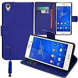 VComp-Shop® Funda de piel sintética con tarjetero y función atril para Sony Xperia Z3 / Z3 Dual + mini lápiz capacitivo, color azul oscuro
