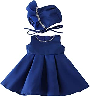 Bow Dream Baby Girl Dresses for Party Princess Formal Infant Birthday Gown with Bonnet