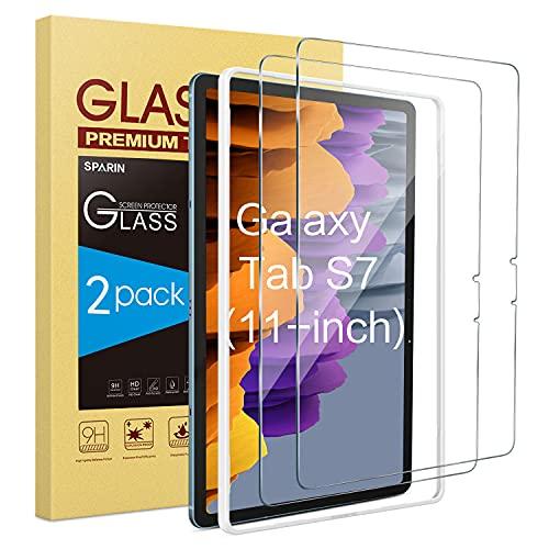 SPARIN 2 Stück Schutzfolie kompatibel mit Samsung Galaxy Tab S7 (11 Zoll, 2020 Modell), 9H Festigkeit, Anti-Kratzer, Bildschirmschutzfolie