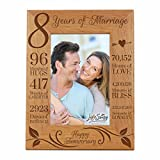 LifeSong Milestones 8th Wedding Picture Frame for Couple 8 Year of Marriage - Eight Year Photo Frame Gift for Parents Couples Husband Wife him her 8x10 (Happy Anniversary)