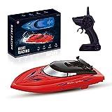 LQKYWNA 2.4GHz Giocattolo Motoscafo con Telecomando & Cavo USB, 25 Km/H Ad Alta velocità della Barca del Modello Giocattolo dell'Acqua Lago Uso Esterno (Rosso)