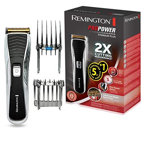 Remington Pro Power Titanium Plus Máquina de Cortar Pelo - Cortapelos con Cable e Inalámbrico, Cuchillas de Titanio, 75 min Autonomía, Negro - HC7150