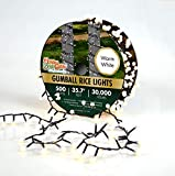 Holiday Bright Lights 500l Gumball Rice Light Reel Green Cord/Warm White-Opaque
