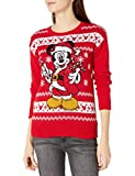 Disney Women's Ugly Christmas Sweater, Santa Mickey/Red, Large by Disney