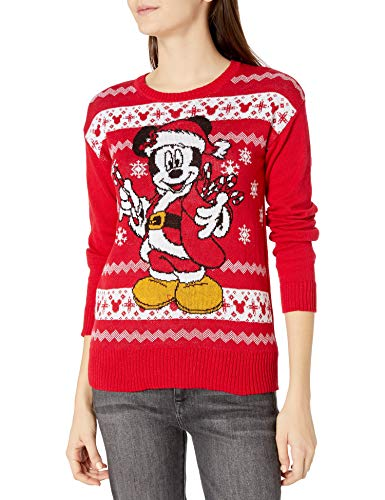 Disney Women's Ugly Christmas Sweater Pullover, Santa Mickey/Red, Large
