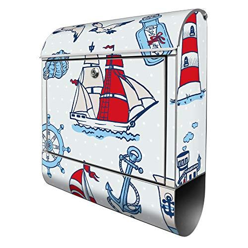 Banjado Design Briefkasten mit Motiv Schiff Ahoj | Stahl pulverbeschichtet mit Zeitungsrolle | Größe 39x47x14cm, 2 Schlüssel, A4 Einwurf, inkl. Montagematerial